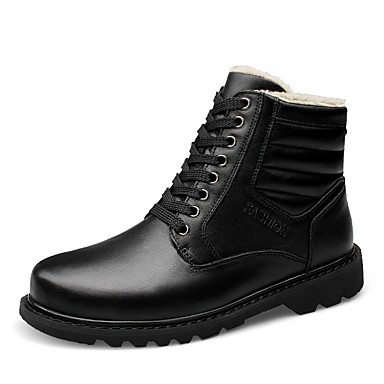 Men's Shoes Cowhide Nappa Leather Leather Winter Fashion Boots Snow Boots Boots Booties / Ankle Boots Lace-up for Casual Office & Career