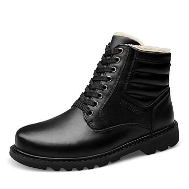 Herre sko Lær Nappa Lær Vinter Trendy støvler Snøstøvler Støvler Ankelstøvler Snøring til Avslappet Kontor og karriere utendørs Svart