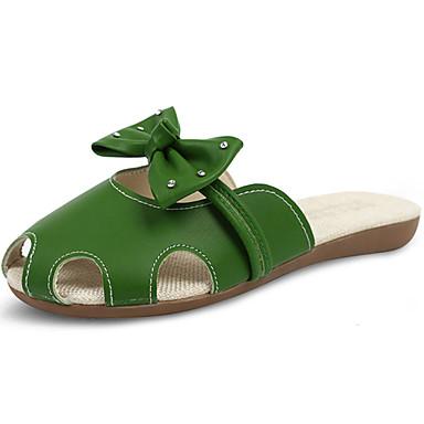 Mulheres Sapatos Couro Ecológico Verão Conforto Sandálias Caminhada Salto Baixo Dedo Aberto para Casual Branco Verde