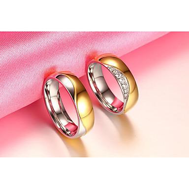 Casal Zircônia cúbica Zircônia Cubica Anéis de Casal - Redonda Circular Vintage Elegant Dourado Anel Para Casamento Aniversário Festa