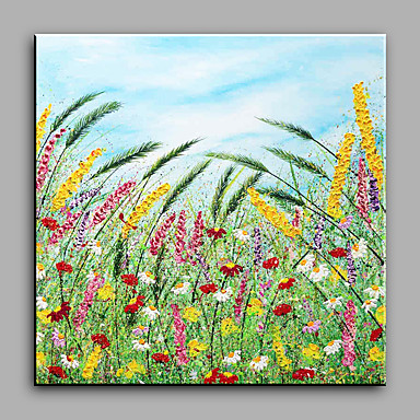 Hand-Painted Floral/Botanical Square, Modern Canvas Oil Painting Home Decoration One Panel