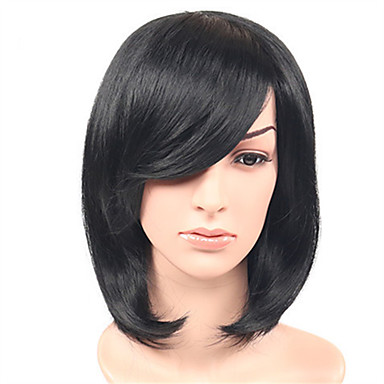 Synthetic Hair Wigs Body Wave With Bangs Capless Natural Wigs Medium Black