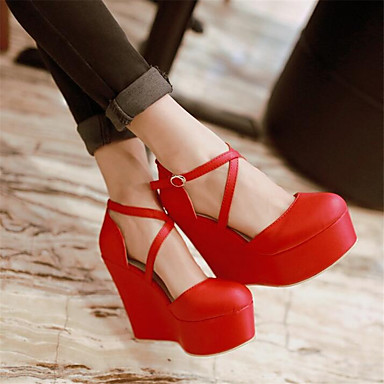 Women's Shoes PU Spring Comfort Sandals Wedge Heel for Casual Black Red