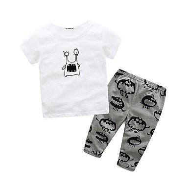 Baby Boys' Cartoon / Animal Print Holiday / Going out / Casual / Daily Animal / Cartoon Short Sleeves Clothing Set