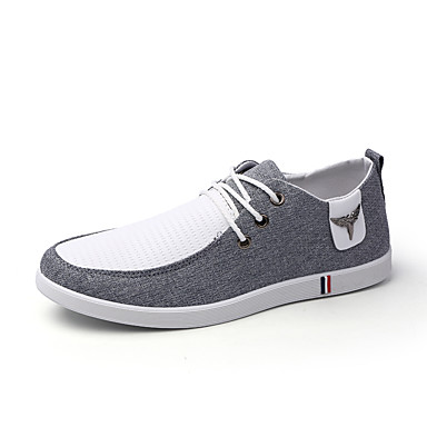Men's Shoes Canvas Spring Summer Comfort Light Soles Sneakers For Casual Gray Blue