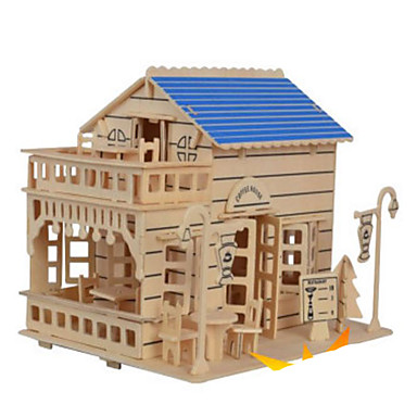 3D Puzzles Jigsaw Puzzle Wooden Puzzles Wood Model Model Building Kit Famous buildings House Architecture Other 3D DIY Wood Natural Wood