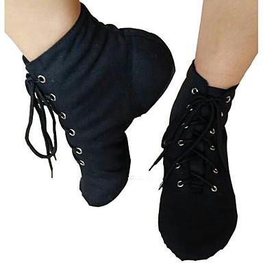 Mulheres Sapatos de Jazz Lona Sapatilha Sapatos de Dança Branco / Preto / Vermelho / Ensaio / Prática