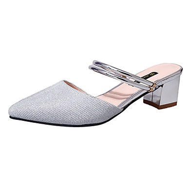 Women's Shoes Nubuck leather Summer Light Soles Sandals Walking Shoes Chunky Heel Pointed Toe for Casual Dress Gold Silver