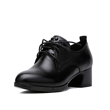 Women's Shoes Leather Spring / Fall Novelty / Formal Shoes Heels Chunky Heel Pointed Toe / Round Toe Lace-up / Split Joint Black