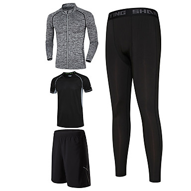 Men's Tracksuit Moisture Wicking Quick Dry Running Shorts Bottoms for Running/Jogging Exercise & Fitness Basketball Tight Black+Gray