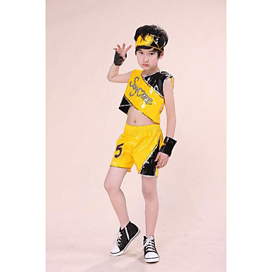 Jazz Outfits Boys' Performance Polyester Appliques 2 Pieces Sleeveless High Tops Shorts