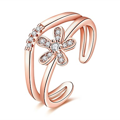 Women's AAA Cubic Zirconia Crossover Ring - Rose Gold, Stainless Steel, Zircon Statement, Personalized, Luxury Adjustable Silver / Rose Gold For Christmas / Christmas Gifts / Wedding / Hypoallergenic