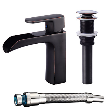 Centerset Waterfall Ceramic Valve One Hole Oil-rubbed Bronze , Bathroom Sink Faucet