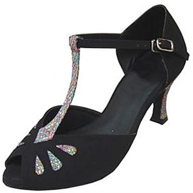 Women's Latin Silk Sandal Performance Buckle Stiletto Heel Black 3