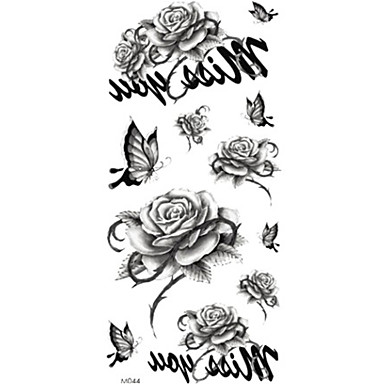 Temporary Tattoos Shoulder Body Flower Series 3D Rose Waterproof Tattoos Stickers Non Toxic Glitter Large Fake Tattoo Halloween Gift 22*15cm