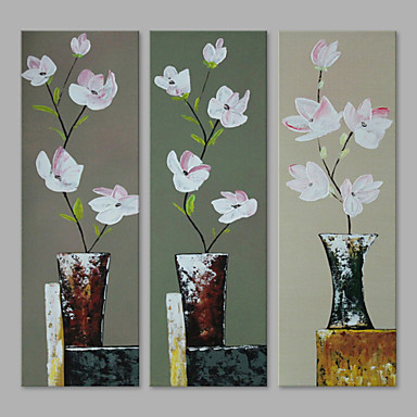 Oil Painting Hand Painted - Floral / Botanical Artistic Canvas Three Panels