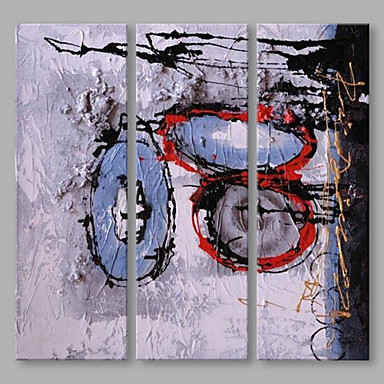 Hand-Painted Abstract Vertical, Artistic Canvas Oil Painting Home Decoration Three Panels