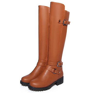 Women's Shoes PU Fall Winter Comfort Boots For Casual Black Brown