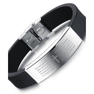 voordelige Herensieraden-Heren Dames Bangles Modieus Initial silica Gel Armband sieraden Zwart Voor Feest Verjaardag Feest / Uitgaan Lahja Avond Feest / Roestvast staal