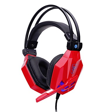 soyto SY850MV-R Headband Wired Headphones Dynamic Plastic Gaming Earphone with Volume Control / with Microphone / Stereo Headset