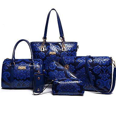 Women's Bags PU(Polyurethane) Bag Set Zipper / Flower Floral Print Blue / Red / Beige