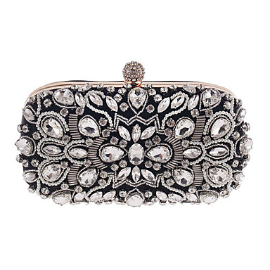 Women's Bags Polyester Evening Bag Rhinestone Appliques Buckle Pearl Detailing Floral Flower for Wedding Event/Party Casual Formal Office