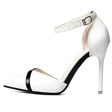 Mulheres Sapatos Borracha Verão Conforto Sandálias Caminhada Salto Agulha Dedo Apontado Presilha Branco / Preto