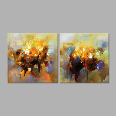 Hand-Painted Abstract Horizontal, Artistic Canvas Oil Painting Home Decoration Two Panels