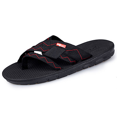 Homens sapatos Couro Ecológico Primavera Outono Solados com Luzes Chinelos e flip-flops Cadarço para Casual Preto Castanho Escuro