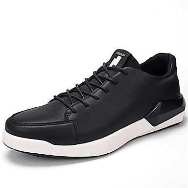 Homens sapatos Couro Ecológico Primavera Outono Solados com Luzes Conforto Tênis Cadarço para Casual Preto