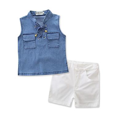 Bambino (1-4 Anni) Da Ragazza Abbigliamento Tinta Unita Senza Maniche Standard Standard Cotone - Altro Completo Blu #06047030 Completa In Specifiche