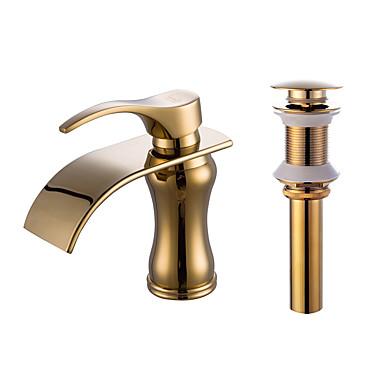 Integroitu Vesiputous Keraaminen venttiili Yksi reikä Kylpyhuone Sink hana