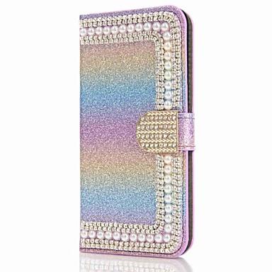 Capinha Para Samsung Galaxy S8 Plus S8 Porta-Cartão Carteira Com Strass Com Suporte Flip Magnética Capa Proteção Completa Côr Sólida