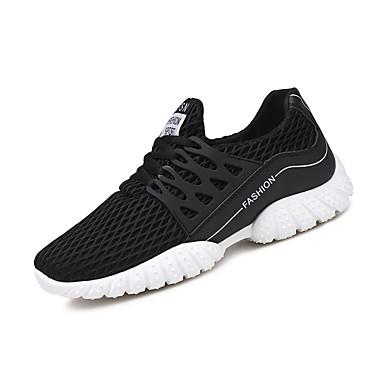 Homens sapatos Couro Ecológico Primavera Outono Solados com Luzes Conforto Tênis Corrida Cadarço para Atlético Preto Cinzento Vermelho