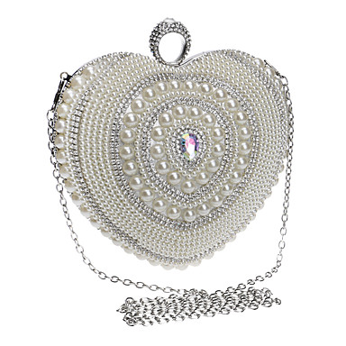 Women's Bags Polyester Evening Bag Rhinestone Pearl Detailing for Wedding Event/Party Formal All Seasons Silver