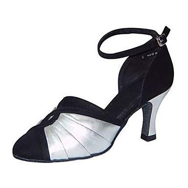 Mulheres Sapatos de Dança Moderna Seda / Courino Sandália / Têni Presilha Salto Agulha Personalizável Sapatos de Dança Preto e Prateado / Profissional