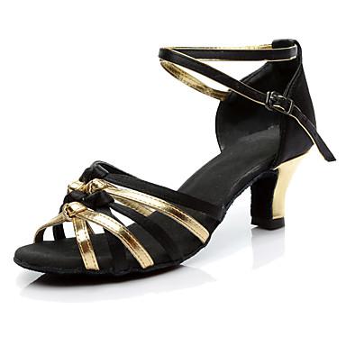Dame Latin Silke Høye hæler Opptreden Kubansk hæl Svart og Gull 5 cm 7 cm Kan spesialtilpasses