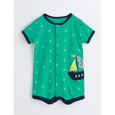 Baby Unisex Endelt Bomull Sommer Kortermet Striper Grønn