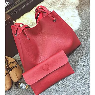 Women Shoulder Bag PU All Seasons Casual Outdoor Round Zipper Red Blushing Pink Gray