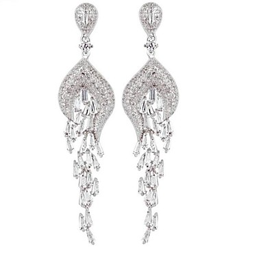 Women's Drop Earrings Cubic Zirconia Euramerican Alloy Geometric Jewelry For Wedding Party Anniversary Birthday Party/Evening Event/Party