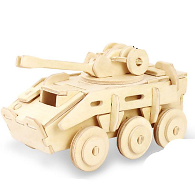 3D Puzzles Jigsaw Puzzle Metal Puzzles Wood Model Model Building Kit Tank 3D DIY Wood Natural Wood Classic Kid's Adults' Unisex Gift