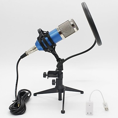 Recording Karaoke BM-800Capacitor  Dynamic Condenser Cable Microphone Sound Card Adapter Triangle Bracket Kit
