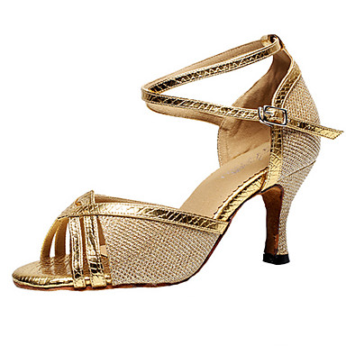 Women's Latin Shoes Sparkling Glitter / Synthetic Microfiber PU Heel Buckle Customizable Dance Shoes Silver / Gray / Purple / Indoor