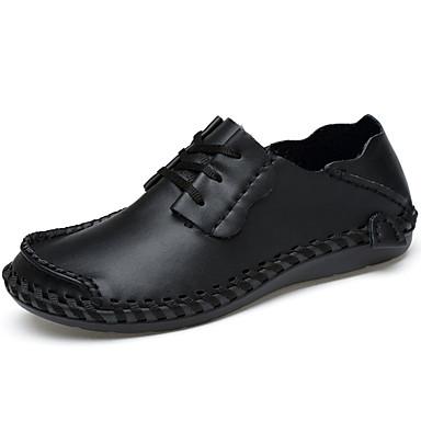 Homens sapatos Pele Napa Verão Conforto Sandálias para Ao ar livre Preto Azul Castanho Claro Castanho Escuro