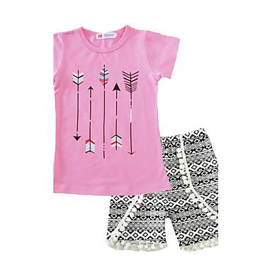 Girls' Clothing Set, Cotton Summer Short Sleeves Blushing Pink