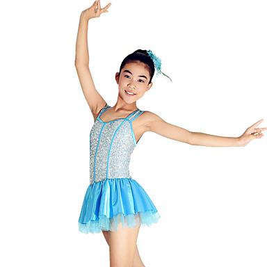 Costumes de Pom-Pom Girl Tenue Utilisation Spandex Pailleté Paillette Robe pan volant Cristaux / Stras Fleur Sans Manches Taille moyenne