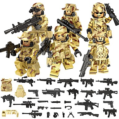 cheap Toys & Games-DILONG Building Blocks Military Blocks Block Minifigures 106 pcs Military Warrior Soldier compatible Legoing Unisex Boys' Girls' Toy Gift / Educational Toy