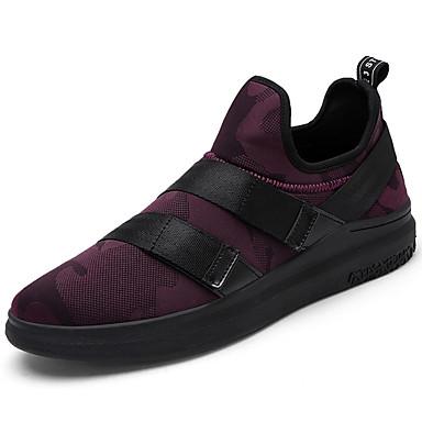 Homens sapatos Tule Primavera Outono Solados com Luzes Conforto Tênis Cadarço para Casual Ao ar livre Preto Branco/Preto Preto/Vermelho