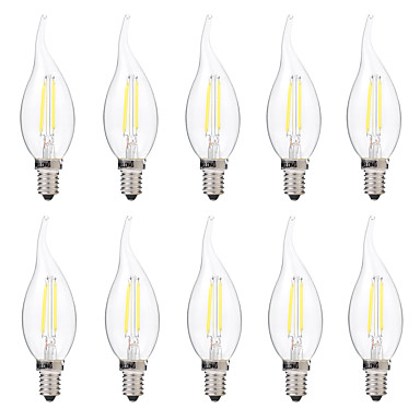 BRELONG® 10pcs 2W 200lm E14 LED Filament Bulbs C35 2 LED Beads COB Dimmable Warm White White 220-240V
