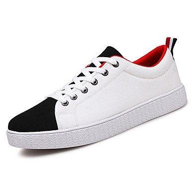 Men's Athletic Shoes Comfort Spring Fall PU Outdoor Black Ruby Black/Red Flat